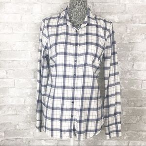 J. CREW Perfect Fit Plaid Flannel Button Down Top